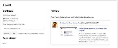 Vista previa del feed de Google Plus de Christian Cardona Suárez