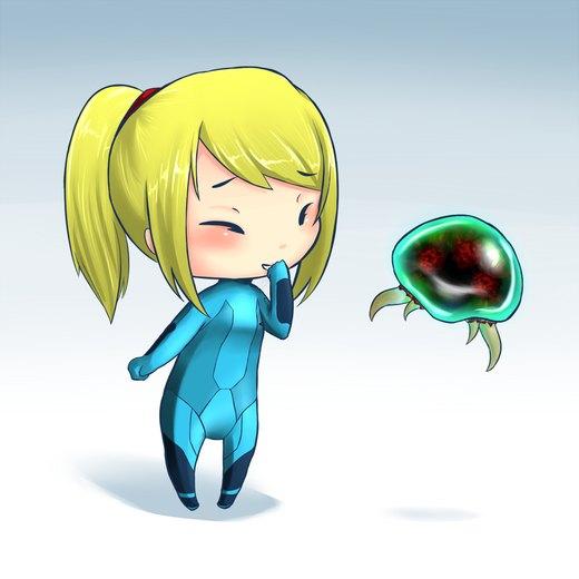Samus Aran and Baby Metroid por jecca-zn