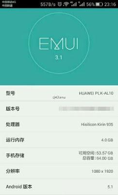 Bocoran screen shot sistem ini konfirmasikan spesifikasi Huawei Honor 7