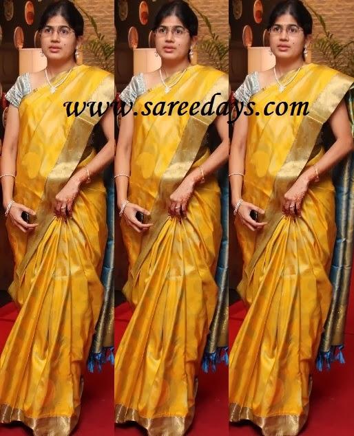 Latest saree designs yellow kanchipuram saree yellow kanchipuram saree altavistaventures Image collections