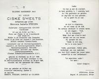 Bidprentje Ciske Smeets 1888-1989