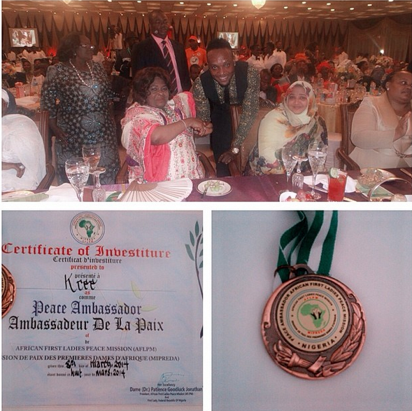 Kcee appointed Peace Ambassador by 1st lady Patience Jonathan