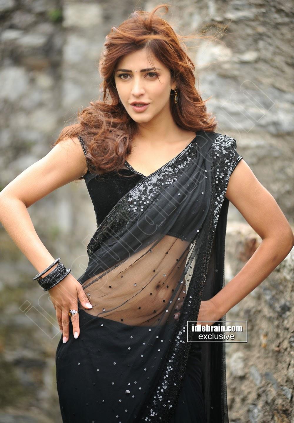 actress shruthi hassan hot navel show in transperent saree