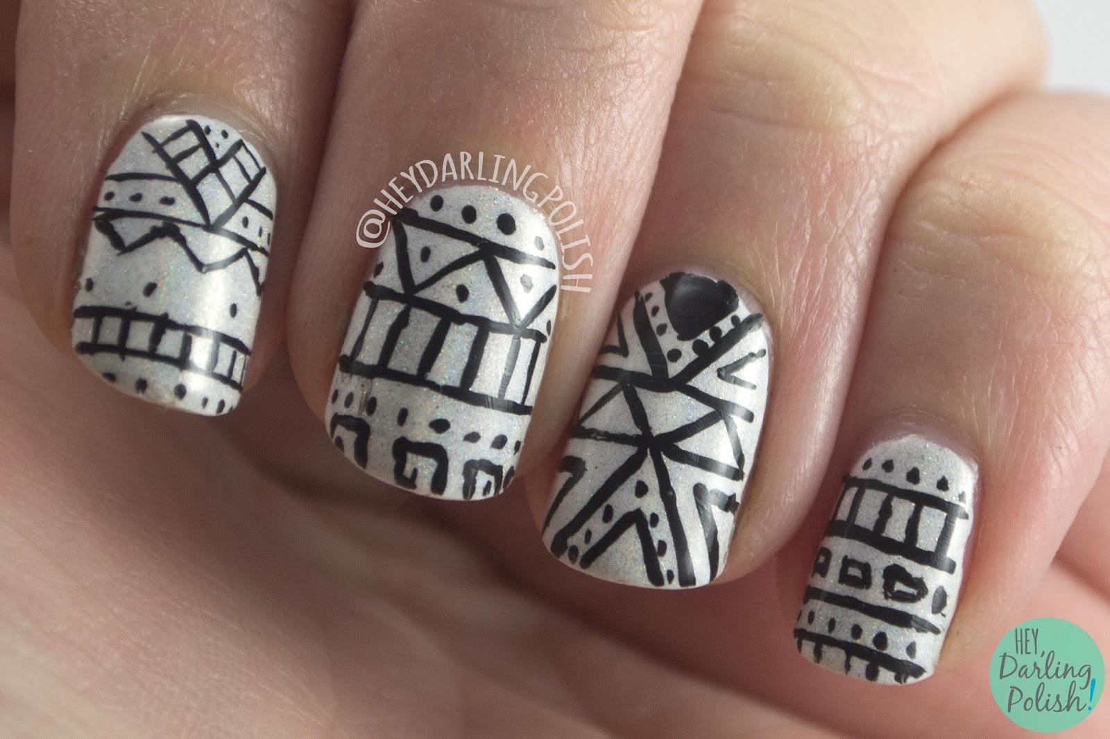 nails, nail art, nail polish, hey darling polish, tribal, black, white, geometric, the nail challenge collaborative