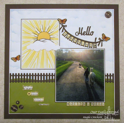 Our Daily Bread Designs Stamp sets: Hello Sunshine, Sunshine Blessings, Butterfly and Bugs, Pennant Swag Alphabet, ODBD Custom Dies: Sunburst Background, Hello,  Butterfly and Bugs, , Fence, Pennant Swag, Clouds and Rain
