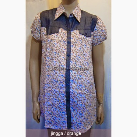 Baju Hamil Batik Kerja Kombinasi Polos