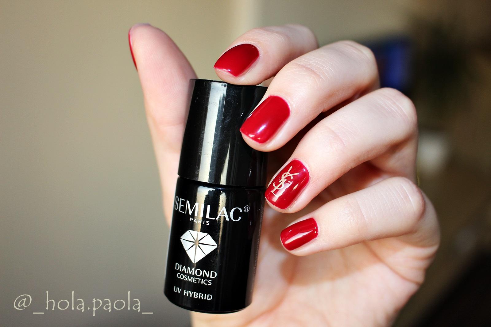 Lakier hybrydowy Semilac 071 Deep Red YSL nails brand nails red nails sexy classic lady nails gdzie kupic hybrydowe lakiery jaka firma do domu water dectal gucci dior chanel burberry jaki lakier na jesień jaki kolor na jesień paznokcie