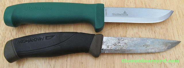 Hultafors Craftmans Knife Heavy-Duty GK: Split View With Mora Companion--Out Of Sheaths