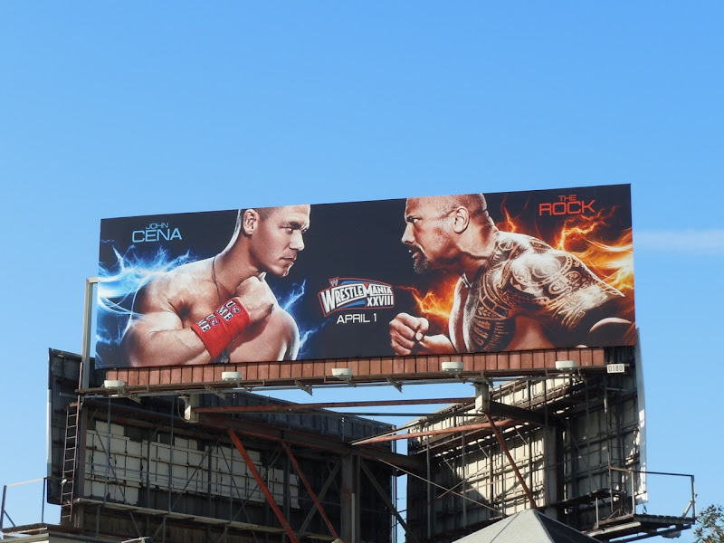 Wrestlemania John Cena vs The Rock billboard