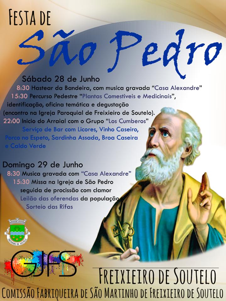 Cartaz/Programa da festa de São Pedro em Freixieiro de Soutelo (2014)