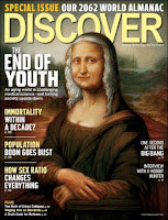 Discover cover with gray-haired Mona Lisa illustration
