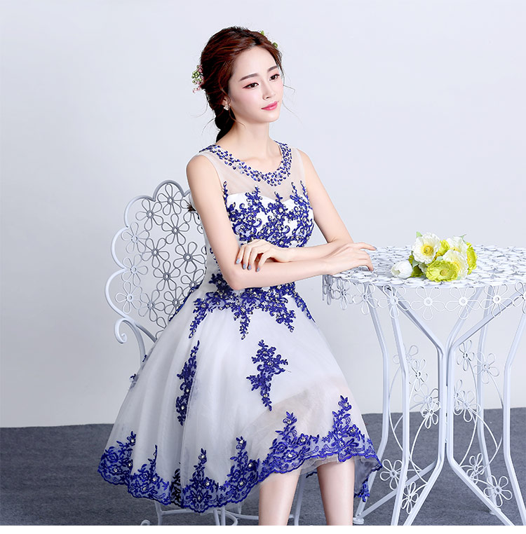 New 2016 Blue Embroidery Sequin White Lace Evening Dress