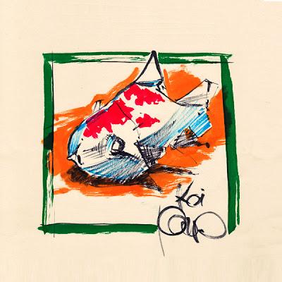 koi carp, fish doodle, pentel