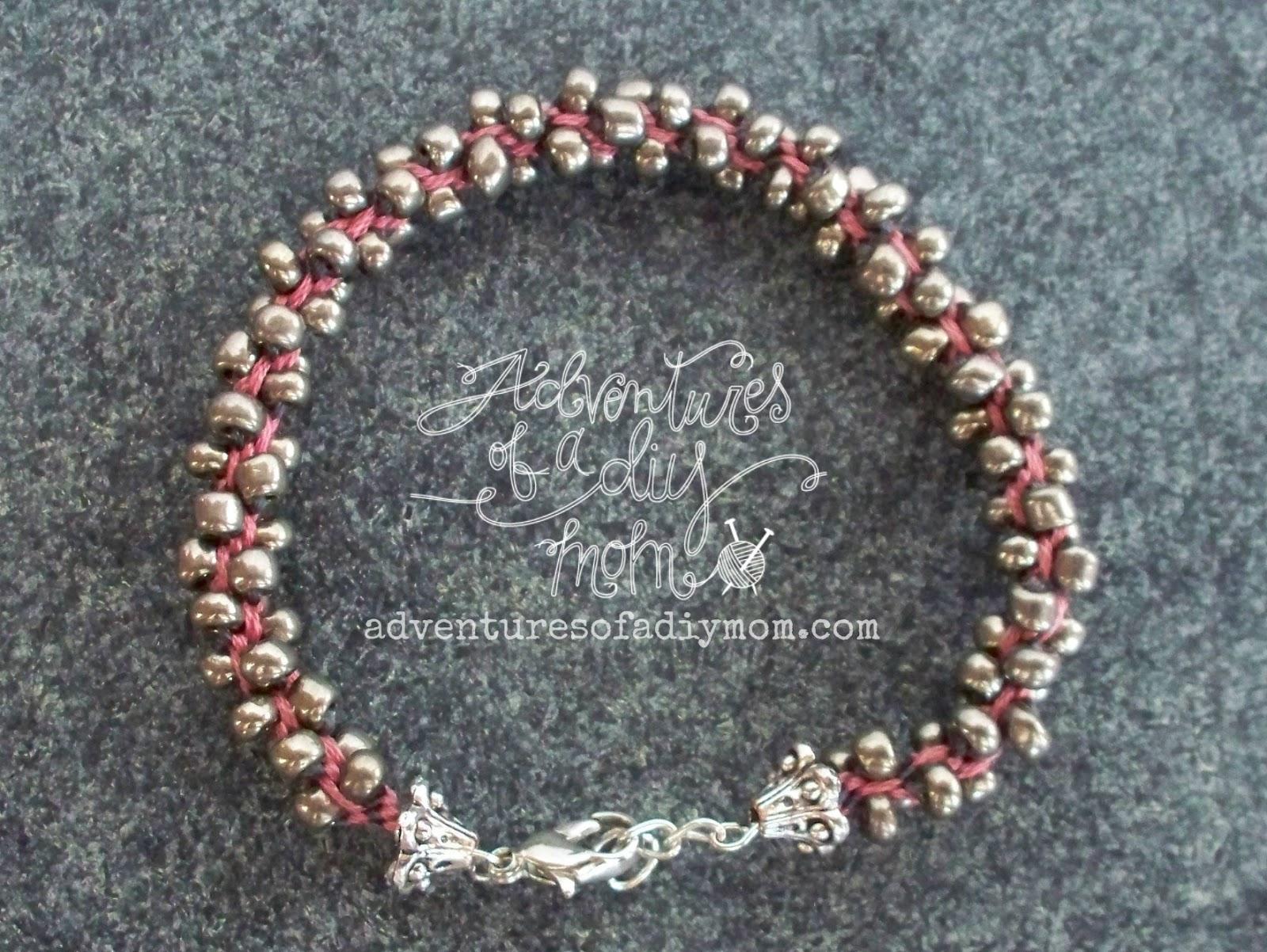 Embroidery thread and seed bead kumihimo bracelets a