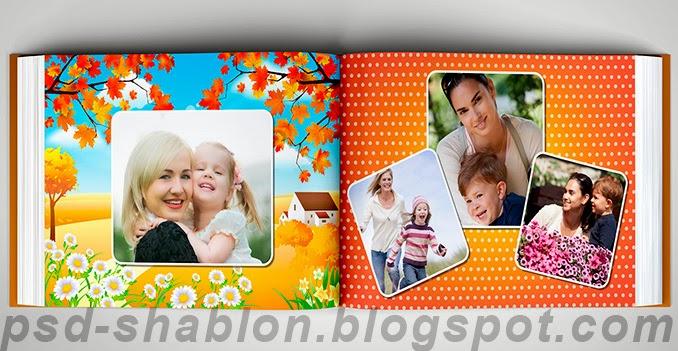 семейная фотокнига, шаблон, макет фотокниги, psd