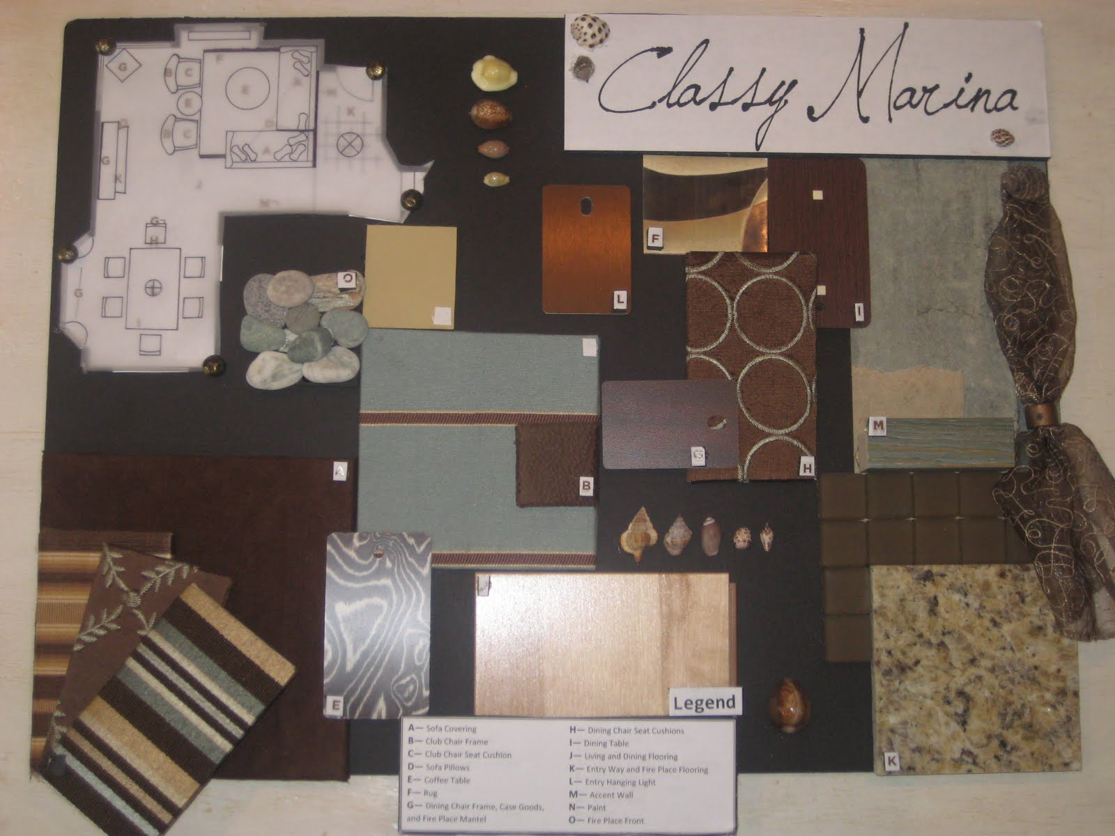 this was my final project for my introduction to interior design indes 140 class at bellevue college we were to create a floor plan and sample board