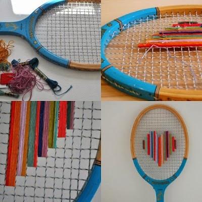 Bordar raquetas de tenis para crear marcos