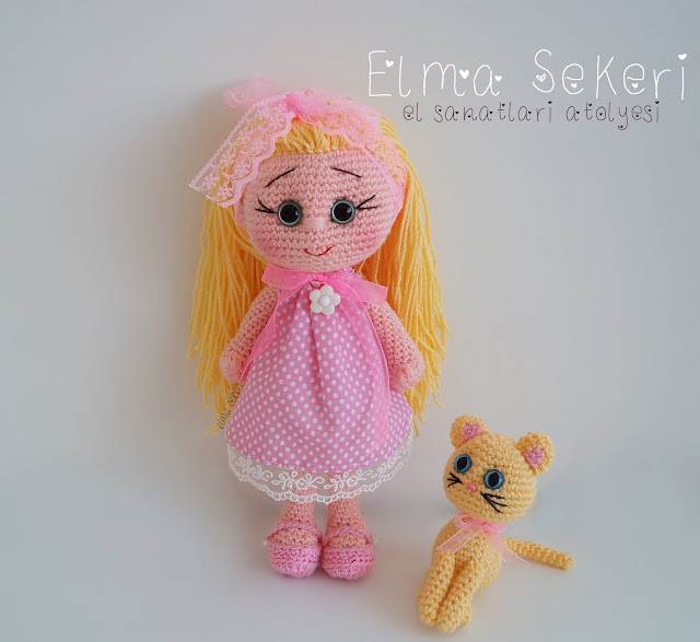 Amigurumi cici kız ve kedisi limon