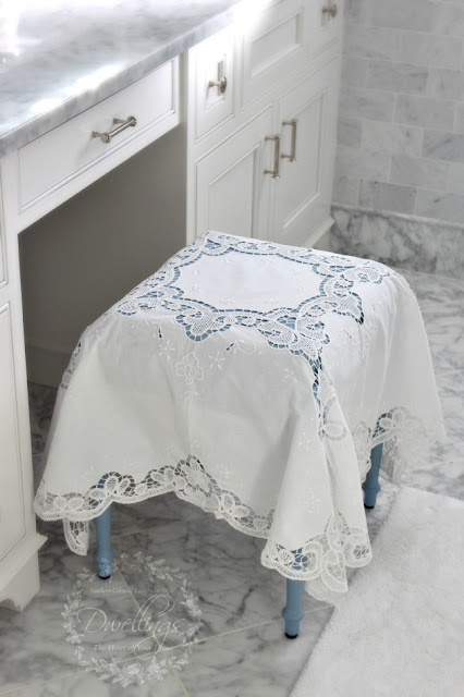 Louis Blue chalk painted vanity stool topped with Battenburg lace