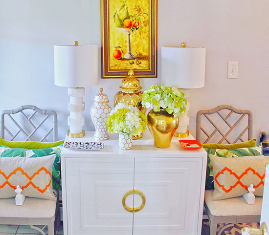 Cabinet: Vivid Hue Home (local Boutique) // Gold And White Jars: Dana Gibson  // Similar Gold Jars // Pillows: West Elm, Piper Collection