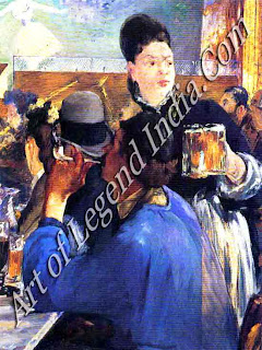 The cafes of Paris, Manet's painting The Waitress (1878) shows an artist in his blue smock drinking at a café. The Impressionists met weekly in such places to debate their work.