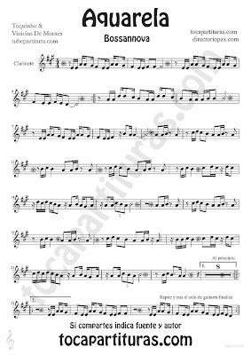 Tubepartitura Aquarela partitura para Clarinete Bossa nova de Toquinho y Vinicius de Moraes