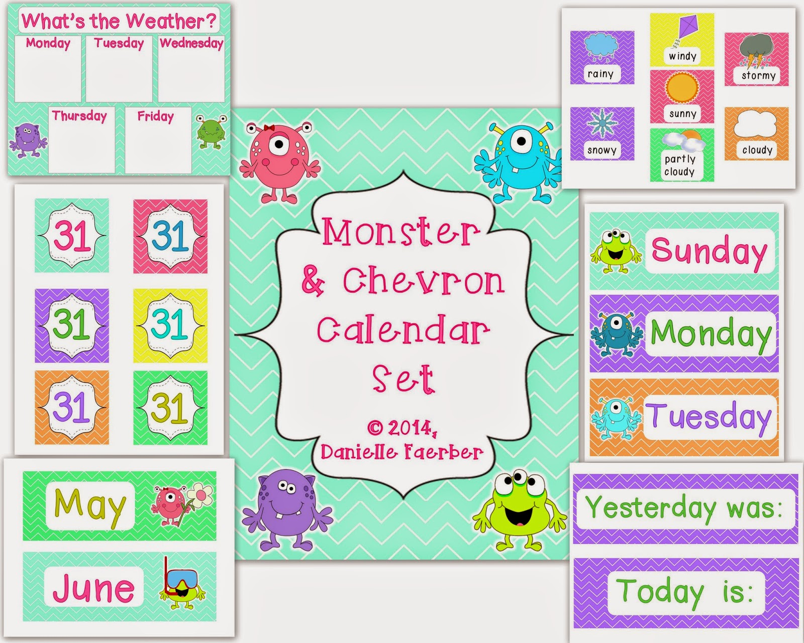 http://www.teacherspayteachers.com/Product/Monster-and-Chevron-Calendar-and-Weather-Set-1304246