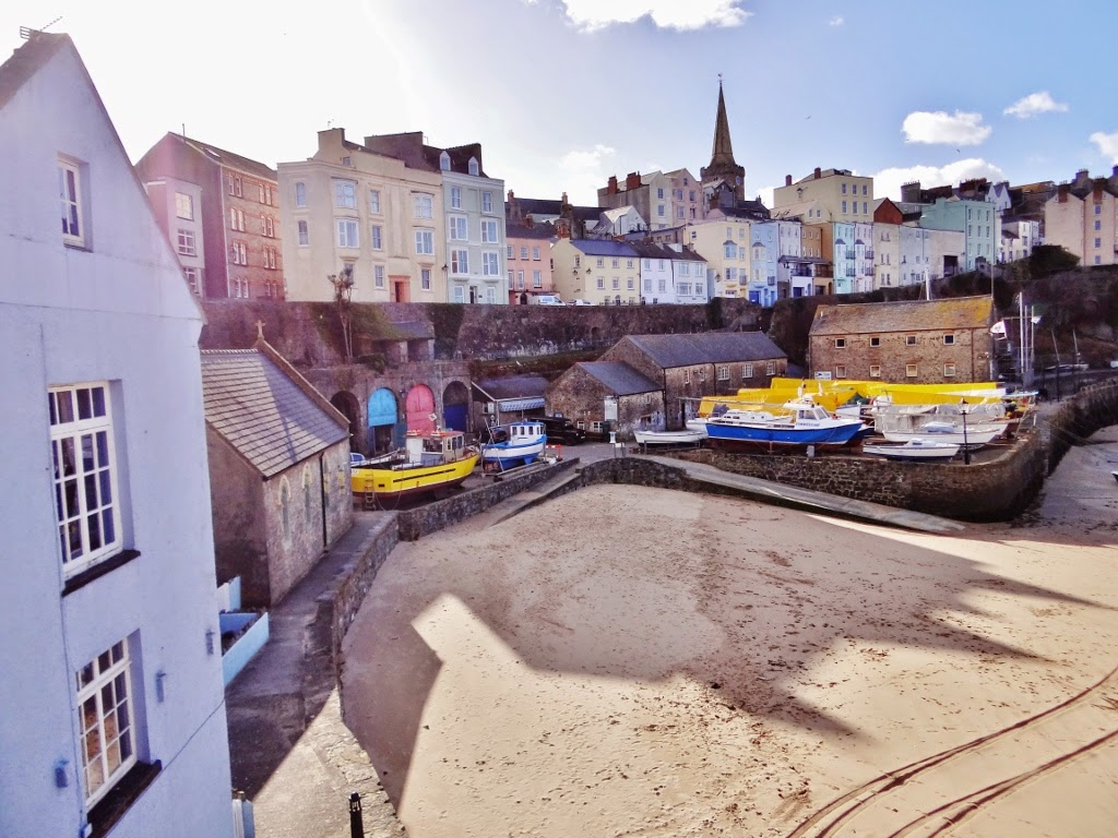 tenby town pastel houses beach