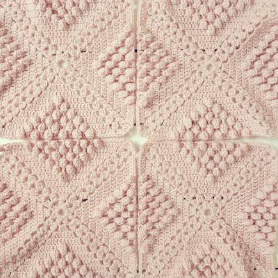ByHaafner, crochet, throw, plaid, bobble popcorn stitch, pastel, pink, work in progress
