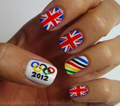 olympics flag nails