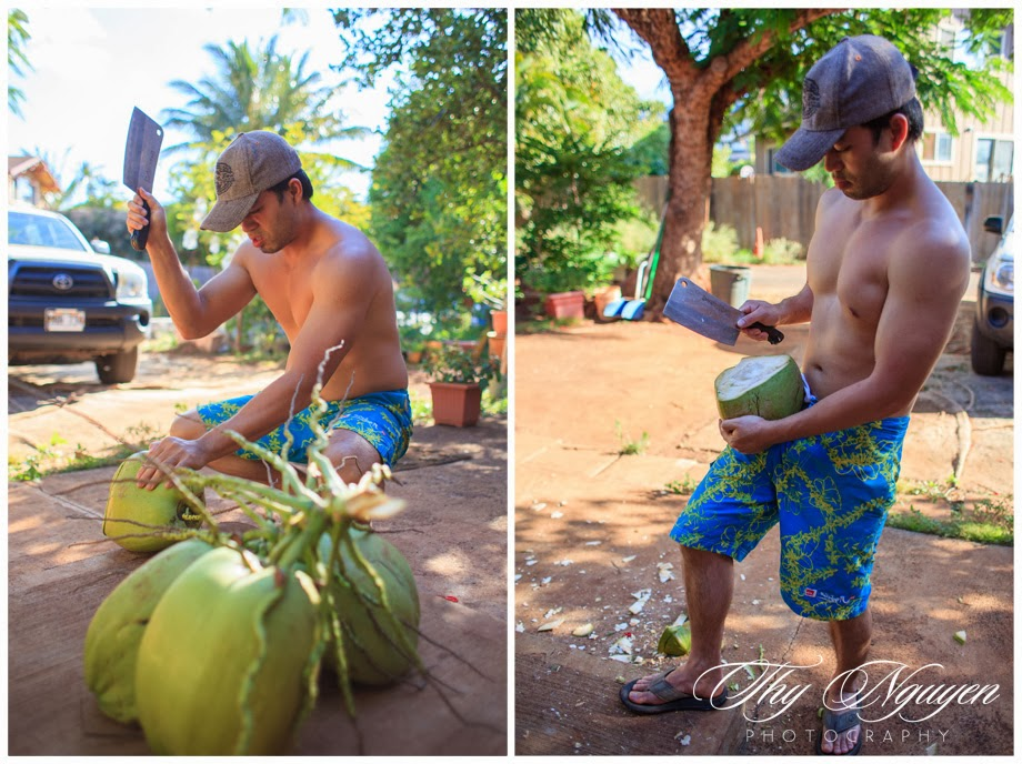 Call him the coconut master, he is quite good at chopping it for consumption. He makes it look very easy cutting through the tough outer skin.