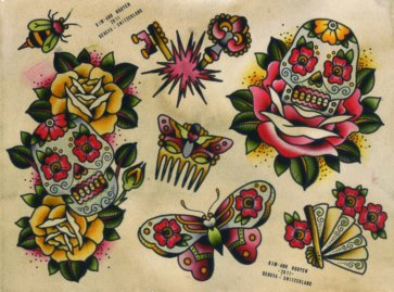 sailor jerry skull butterfly  On Butterflies Drawings By Sailor