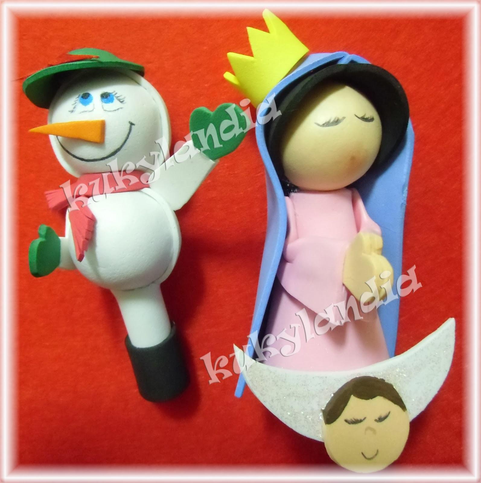 Fofulapices muñeco de nieve y virgencita