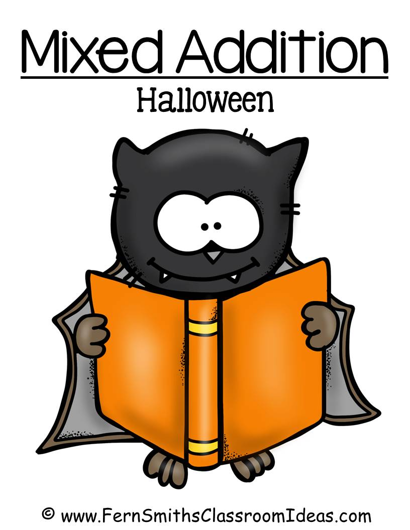 Fern Smith's FREE Mixed Addition Halloween Quick Easy Center and Printable at Classroom Freebies
