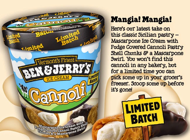 Ben & Jerry's Cannoli Ice Cream Container.