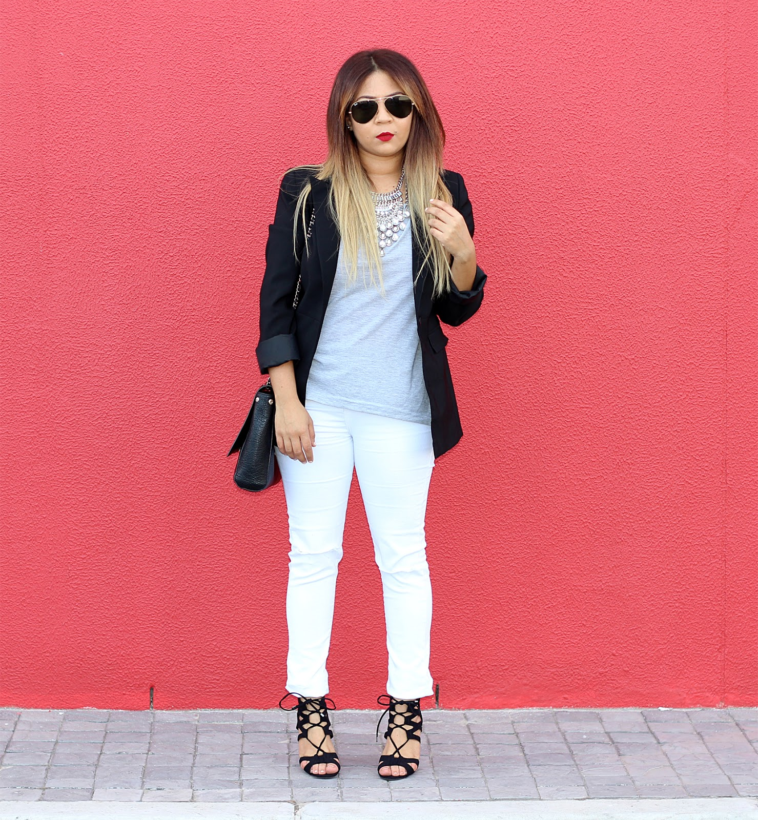 black and white ootd, black blazer ootd, cape town fashion blogger, steve madden lace up heels, mac ruby woo lipstick, dylanlex inspired, white topshop ripped knee jeans
