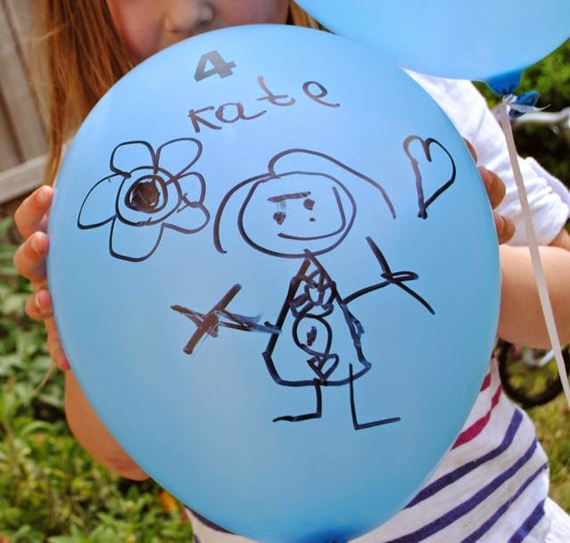 Blue balloon drawn on with marker & stickers