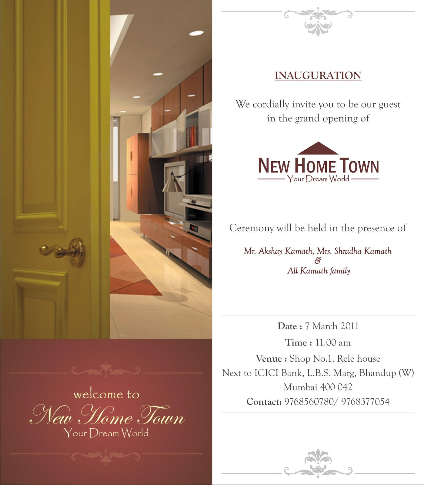 Priyankaworks tuesday 3 april 2012 invitation card for new home town inauguration stopboris Gallery