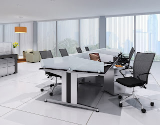 Contemporary Open Desking with Modesty Panels