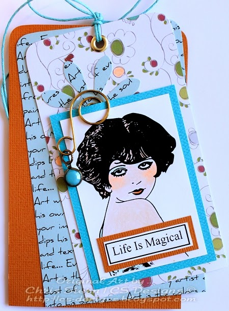 Clara Bow Digital Stamp Life is Magical Art tag, tag art