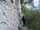 El corriol ressegueix la paret de pedra de sobre la Gorga Blava