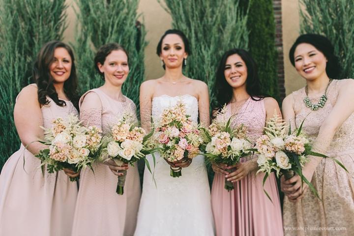 """blush pink bridesmaids dresses"""