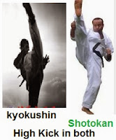 high kick, in shotokan, and kyokushin, vs karate