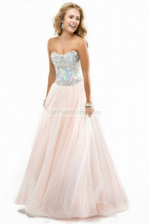 2014 Ball Gown Prom Dresses With Sequined Bodice Corset Tulle
