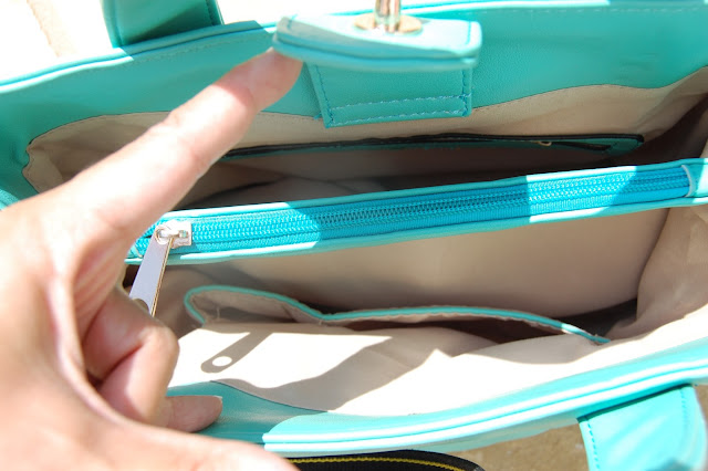 Mint Green Quilted Bag inside