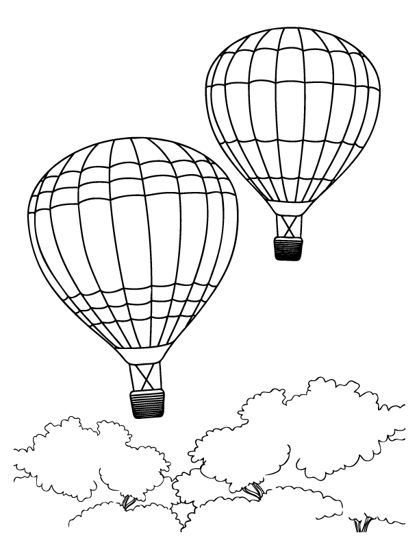 Hot air balloons pictures to colour
