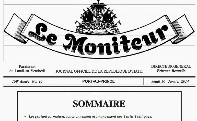 LOI SUR LES PARTIS POLITIQUES D'HAITI. KLIKE SOU FOTO A