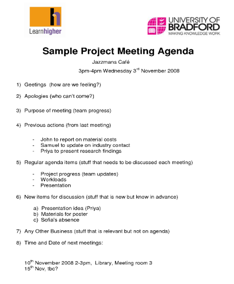 simple meeting agenda for project pdf