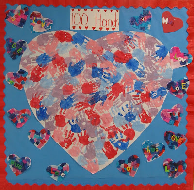 photo of: 100 Painted HandPrint Bulletin Board (100 Day RoundUP via RainbowsWithinReach) 