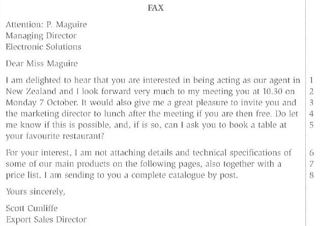 BEC Vantage Fax